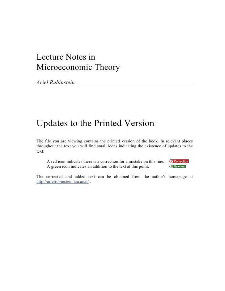 rubinstein2005 lecture on microeconomics