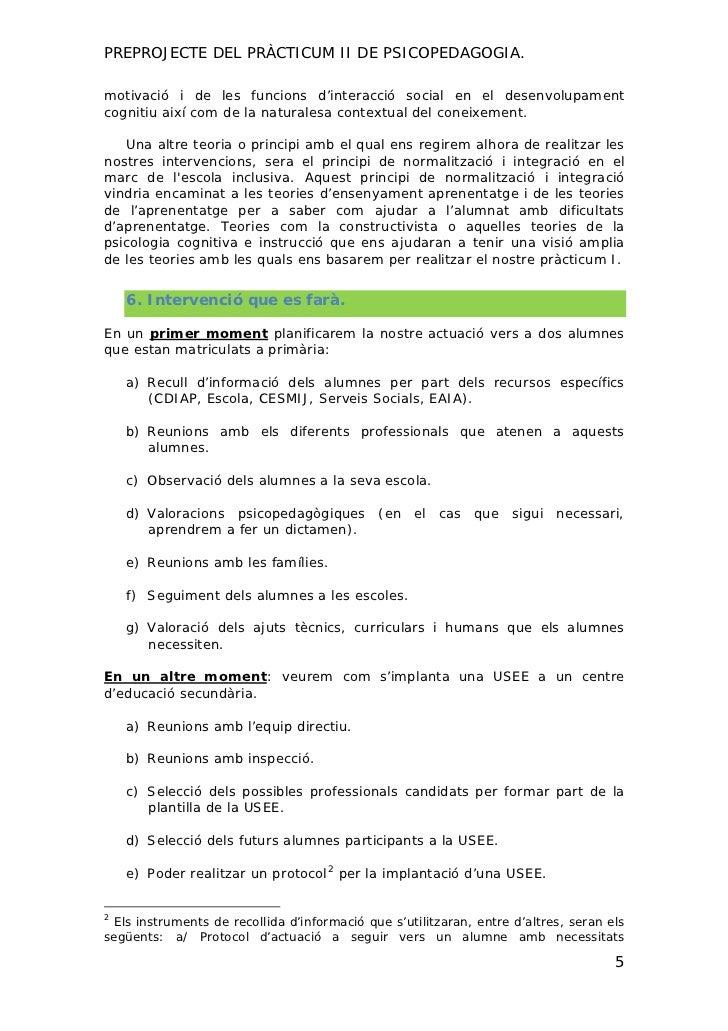 PREPROJECTE DEL PRÀCTICUM II DE PSICOPEDAGOGIA.motivació i de les funcions d'interacció social en el desenvolupamentcognit...