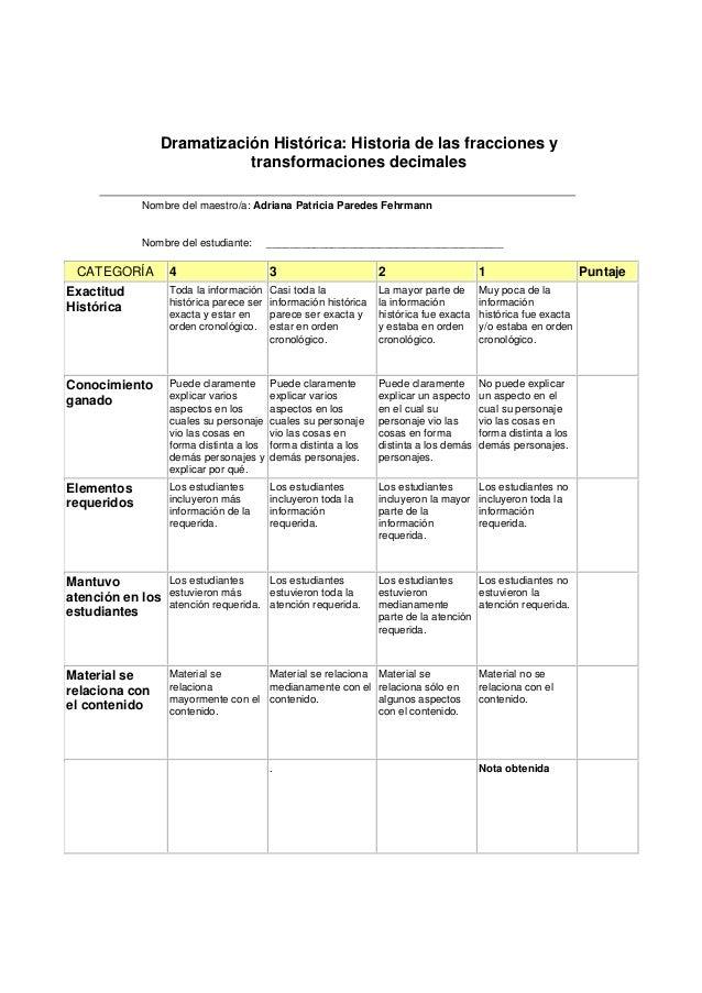 Dramatización Histórica: Historia de las fracciones y                            transformaciones decimales              N...