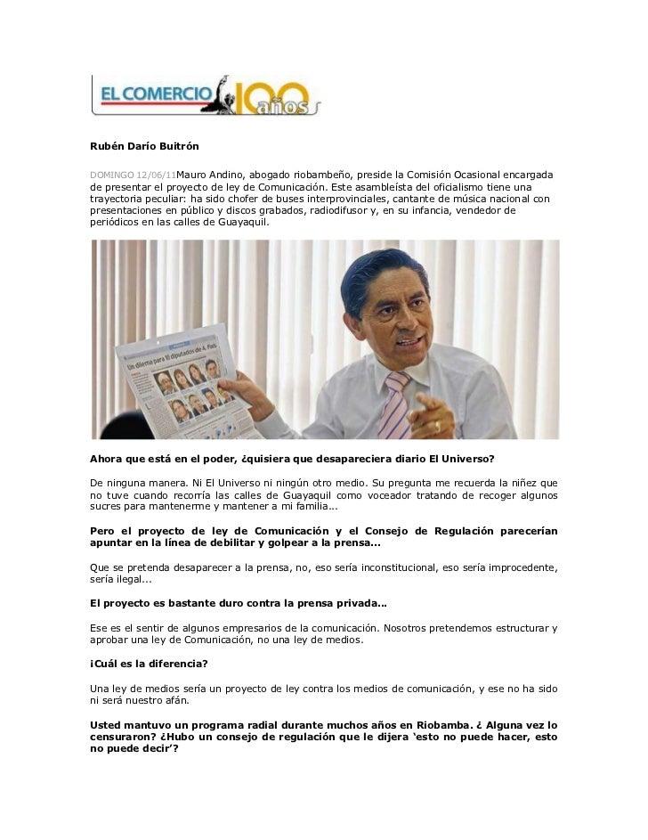 Rubén Darío BuitrónDOMINGO 12/06/11Mauro Andino, abogado riobambeño, preside la Comisión Ocasional encargadade presentar e...