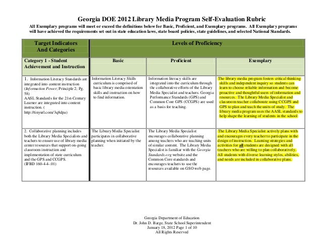 Georgia DOE 2012 Library Media Program Self-Evaluation Rubric   All Exemplary programs will meet or exceed the definitions...