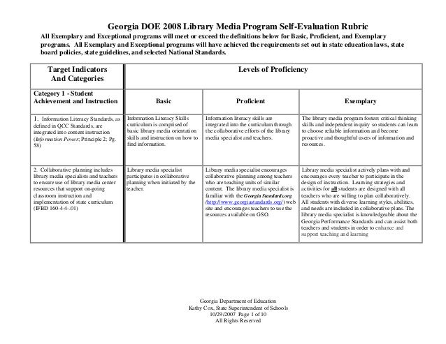 Georgia DOE 2008 Library Media Program Self-Evaluation Rubric Georgia Department of Education Kathy Cox, State Superintend...