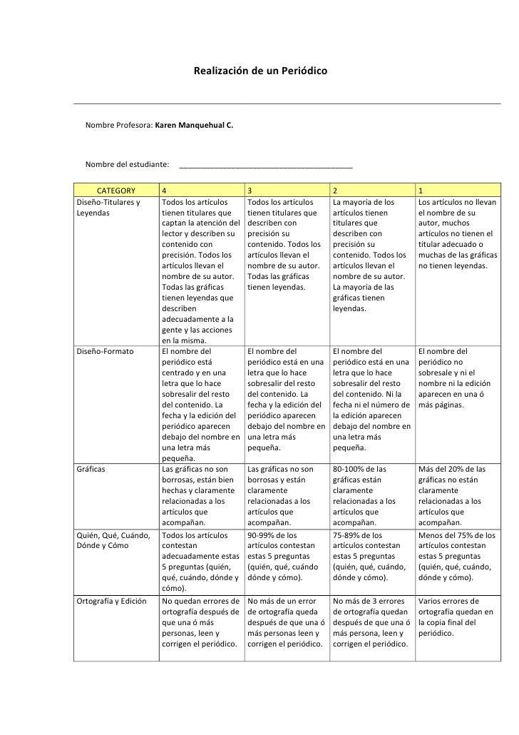 Realización de un Periódico  Nombre Profesora: Karen Manquehual C.  Nombre del estudiante:   _____________________________...
