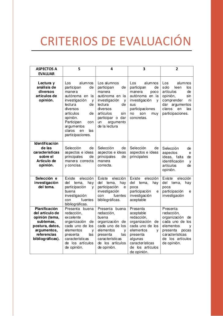CRITERIOS DE EVALUACIÓN ASPECTOS A                5                     4                   3                    2  EVALUA...