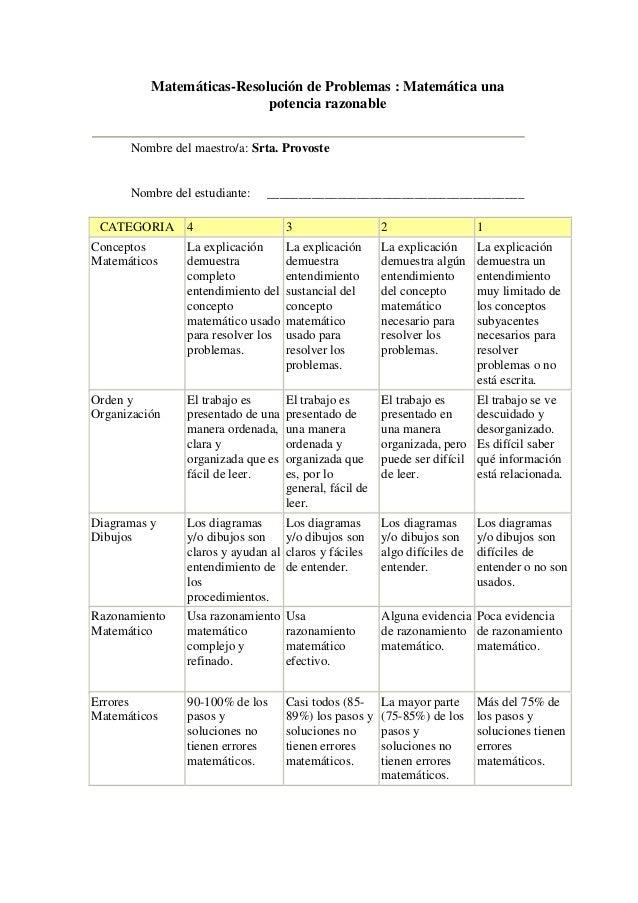 Matemáticas-Resolución de Problemas : Matemática una                           potencia razonable      Nombre del maestro/...