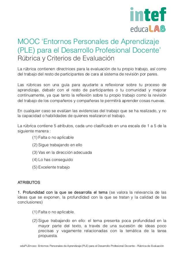 MOOC 'Entornos Personales de Aprendizaje (PLE) para el Desarrollo Profesional Docente' Rúbrica y Criterios de Evaluación L...
