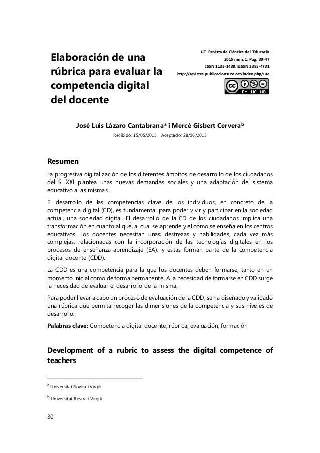 30 Elaboración de una rúbrica para evaluar la competencia digital del docente UT. Revista de Ciències de l'Educació 2015 n...