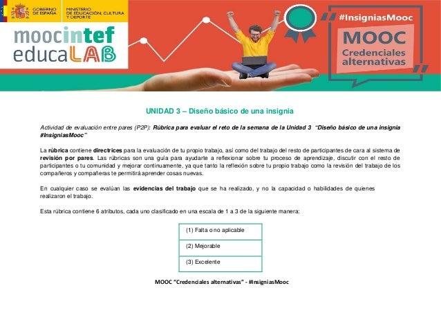 """MOOC """"Credenciales alternativas"""" - #InsigniasMooc UNIDAD 3 – Diseño básico de una insignia Actividad de evaluación entre p..."""