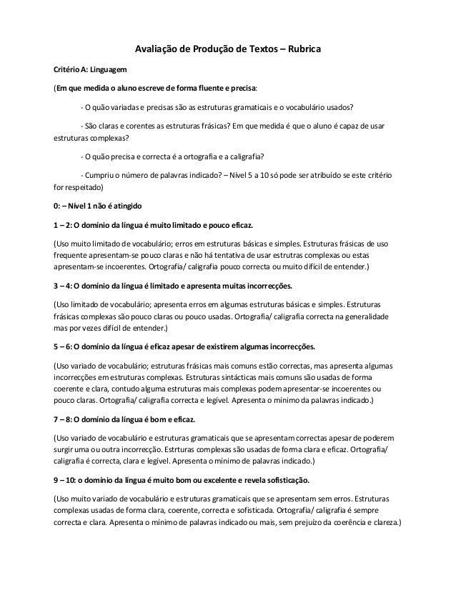 Avaliação de Produção de Textos – RubricaCritério A: Linguagem(Em que medida o aluno escreve de forma fluente e precisa:  ...