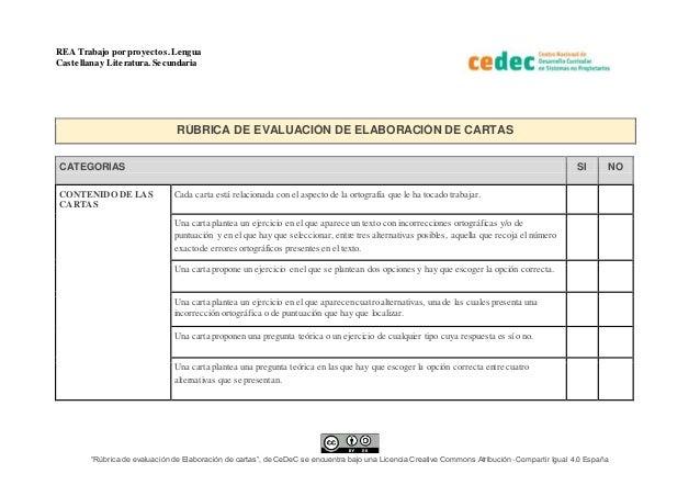 """REA Trabajo por proyectos.Lengua Castellana y Literatura. Secundaria """"Rúbrica de evaluación de Elaboración de cartas"""", de ..."""
