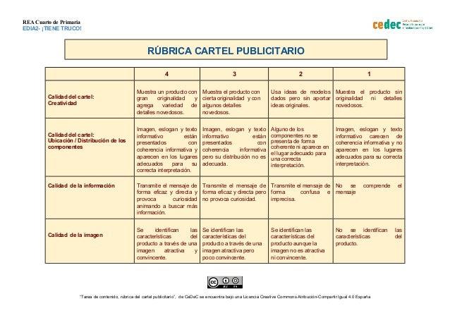 REA Cuarto de Primaria EDIA2- ¡TIENE TRUCO! RÚBRICA CARTEL PUBLICITARIO 4 3 2 1 Calidad del cartel: Creatividad Muestra un...