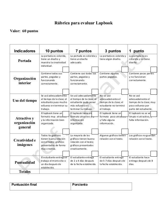 Rúbrica para evaluar Lapbook Valor: 60 puntos Indicadores 10 puntos 7 puntos 3 puntos 1 punto Portada Laportadaescolori...