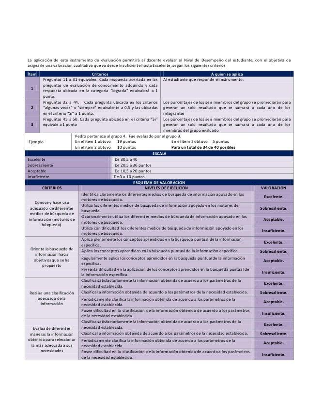 La aplicación de este instrumento de evaluación permitirá al docente evaluar el Nivel de Desempeño del estudiante, con el ...