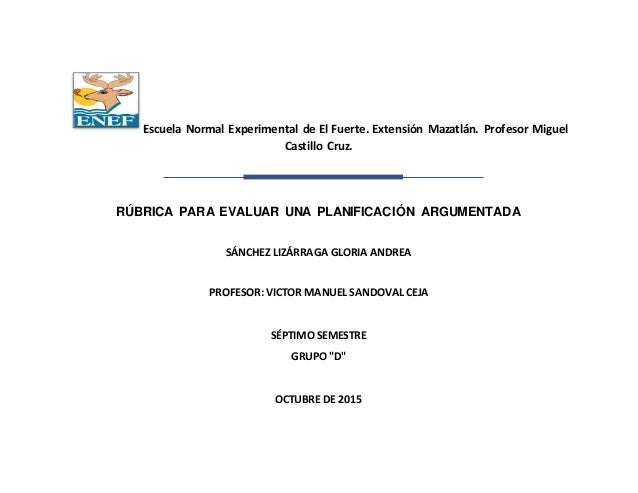 Escuela Normal Experimental de El Fuerte. Extensión Mazatlán. Profesor Miguel Castillo Cruz. RÚBRICA PARA EVALUAR UNA PLAN...
