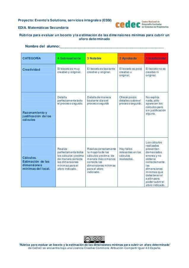 """Proyecto: Evento's Solutions, servicios integrales (ESSI) EDIA. Matemáticas Secundaria """"Rúbrica para evaluar un boceto y l..."""