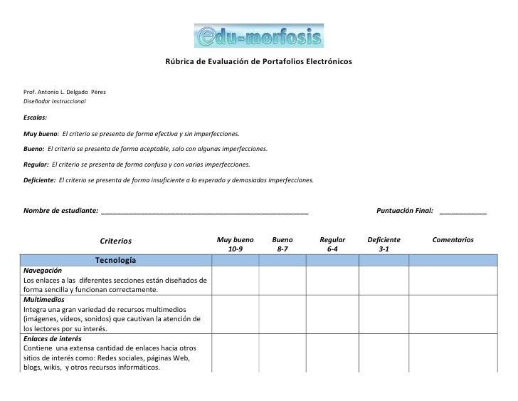 Hacia una transformació n educativa…                                                 Rúbica de Assessment para Portafolios...