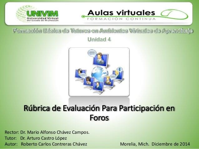 Rúbrica de Evaluación Para Participación en Foros Rector: Dr. Mario Alfonso Chávez Campos. Tutor: Dr. Arturo Castro López ...