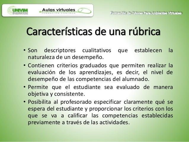 • Son descriptores cualitativos que establecen la naturaleza de un desempeño. • Contienen criterios graduados que permiten...