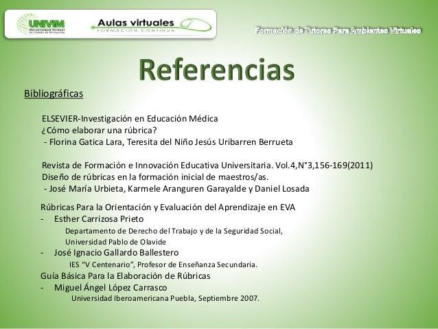 Bibliográficas ELSEVIER-Investigación en Educación Médica ¿Cómo elaborar una rúbrica? - Florina Gatica Lara, Teresita del ...