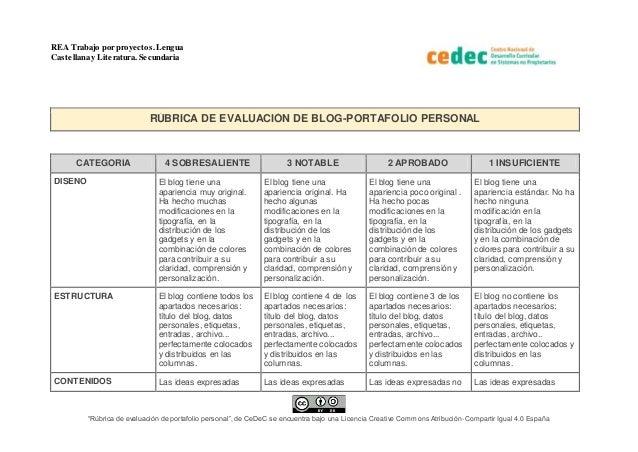 """REA Trabajo por proyectos.Lengua Castellana y Literatura. Secundaria """"Rúbrica de evaluación de portafolio personal"""", de Ce..."""