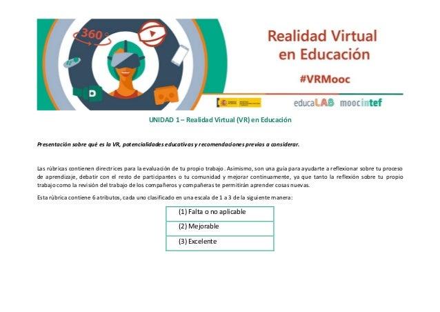 UNIDAD 1 – Realidad Virtual (VR) en Educación Presentación sobre qué es la VR, potencialidades educativas y recomendacione...