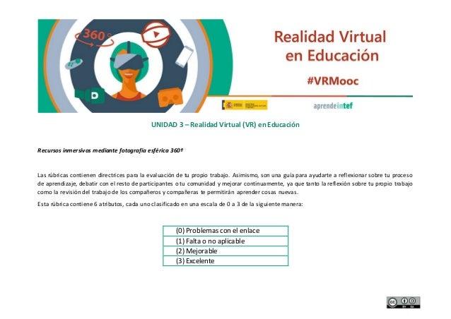 UNIDAD 3 – Realidad Virtual (VR) en Educación Recursos inmersivos mediante fotografía esférica 360º Las rúbricas contienen...