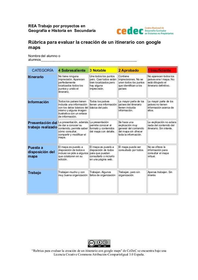 REA Trabajo por proyectos en Geografía e Historia en Secundaria  Rúbrica para evaluar la creación de un itinerario con goo...