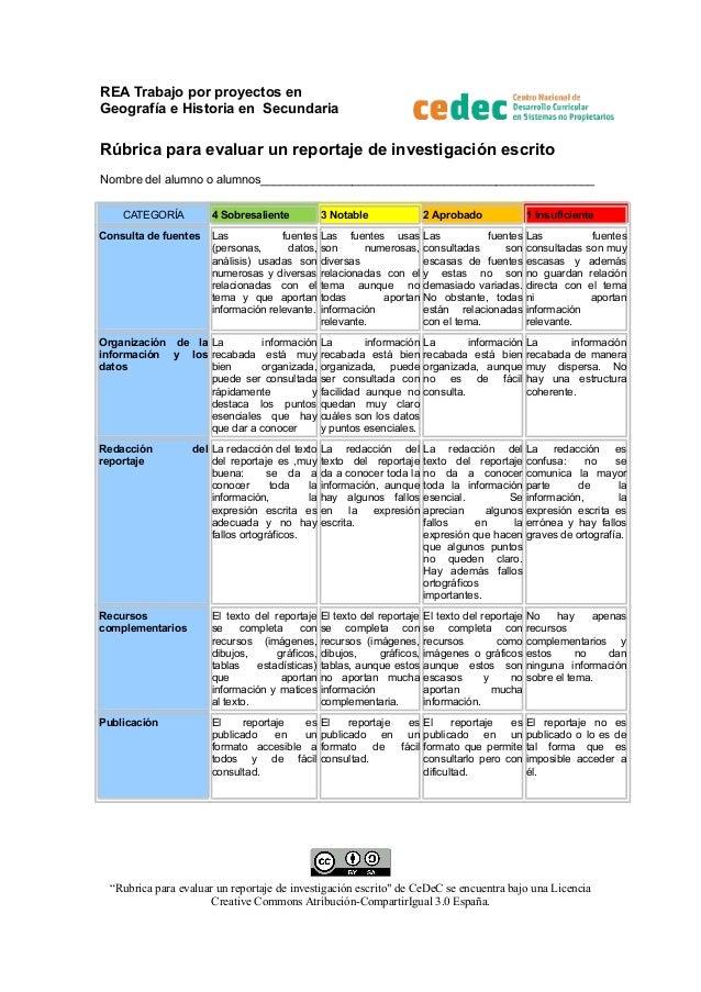 REA Trabajo por proyectos en Geografía e Historia en Secundaria  Rúbrica para evaluar un reportaje de investigación escrit...