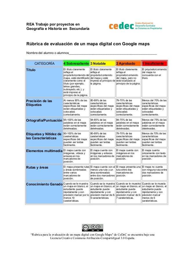 REA Trabajo por proyectos en Geografía e Historia en Secundaria  Rúbrica de evaluación de un mapa digital con Google maps ...