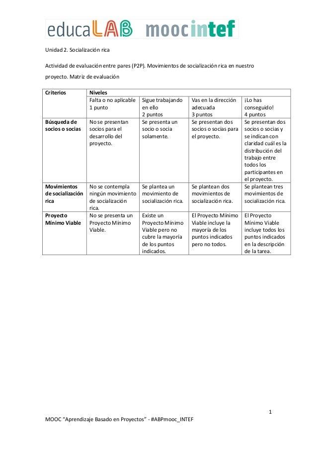 """1 MOOC """"Aprendizaje Basado en Proyectos"""" - #ABPmooc_INTEF Unidad 2. Socialización rica Actividad de evaluación entre pares..."""