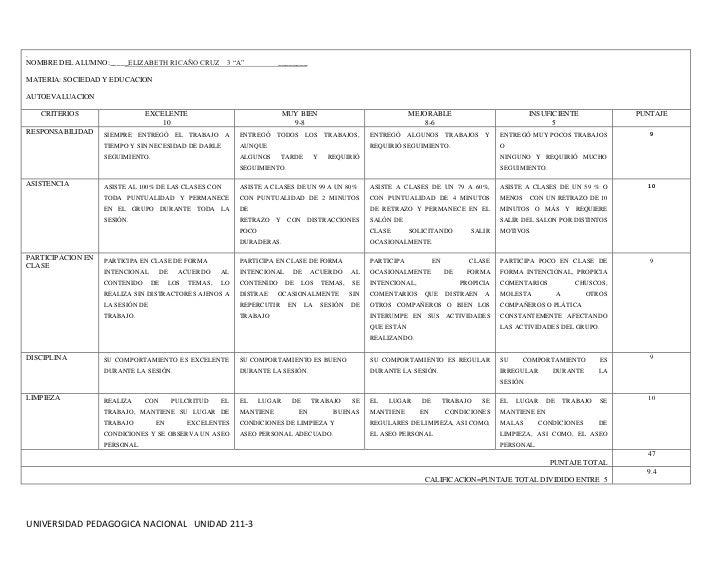 """.NOMBRE DEL ALUMNO:_____ELIZABETH RICAÑO CRUZ 3 """"A""""                     ________MATERIA: SOCIEDAD Y EDUCACIONAUTOEVALUACIO..."""