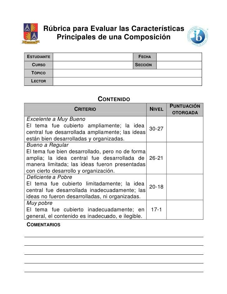 Rúbrica para Evaluar las Características          Principales de una ComposiciónESTUDIANTE                                ...