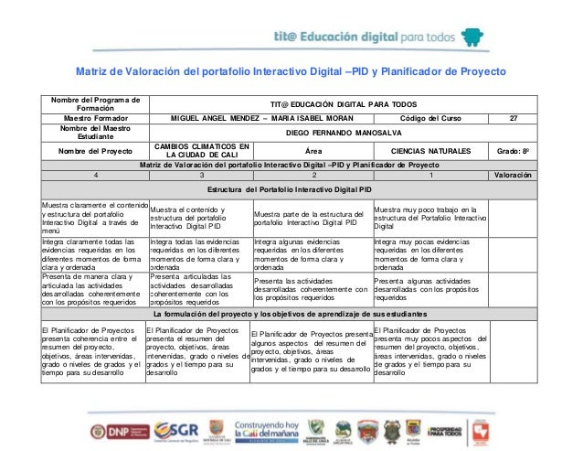Matriz de Valoración del portafolio Interactivo Digital –PID y Planificador de Proyecto Nombre del Programa de Formación T...