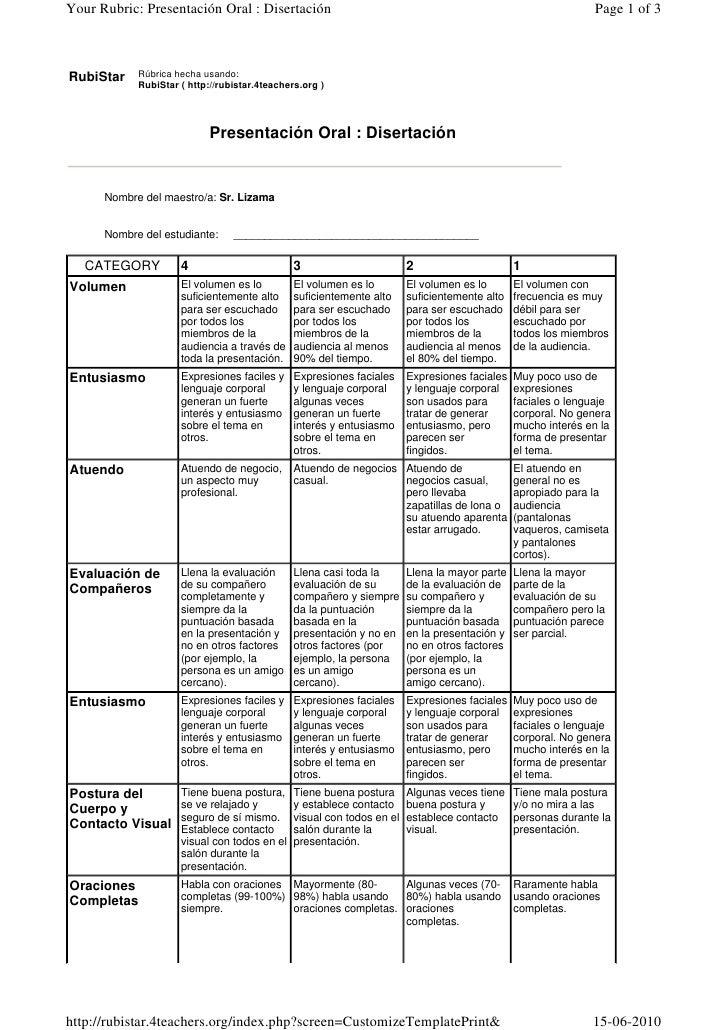 Your Rubric: Presentación Oral : Disertación                                                                  Page 1 of 3 ...