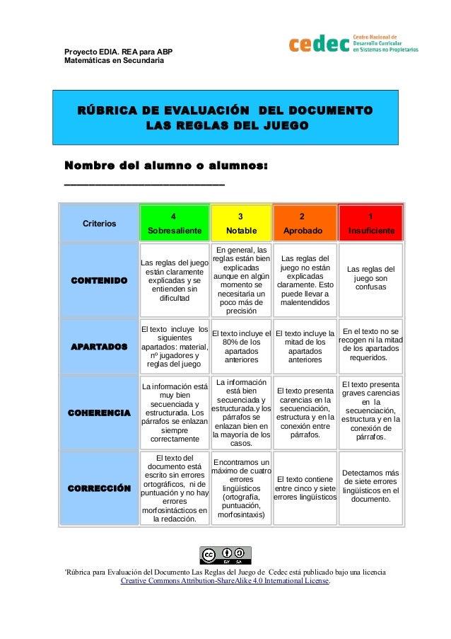 Proyecto EDIA. REA para ABP Matem�ticas en Secundaria R�BRICA DE EVALUACI�N DEL DOCUMENTO LAS REGLAS DEL JUEGO Nombre del ...