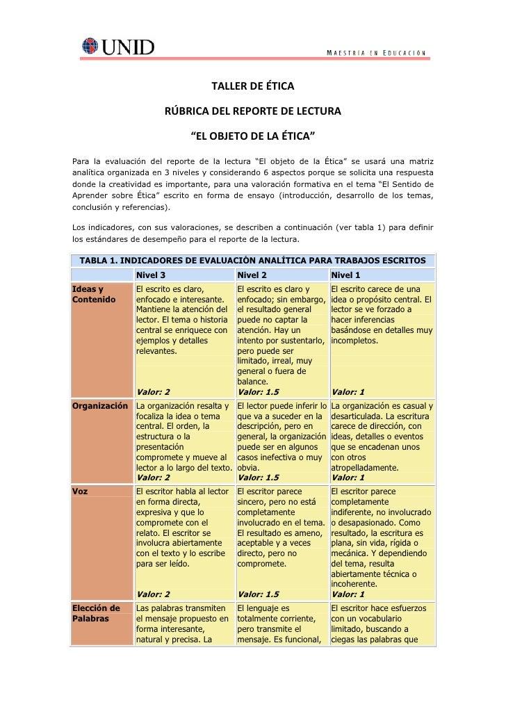 """TALLER DE ÉTICA                        RÚBRICA DEL REPORTE DE LECTURA                               """"EL OBJETO DE LA ÉTICA..."""