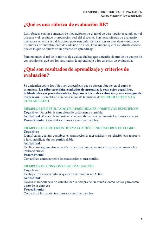 CUESTIONES SOBRE RUBRICAS DE EVALUACIÓN Carlos Massuh Villavicencio MSc. 1 ¿Qué es una rúbrica de evaluación RE? Las rubri...