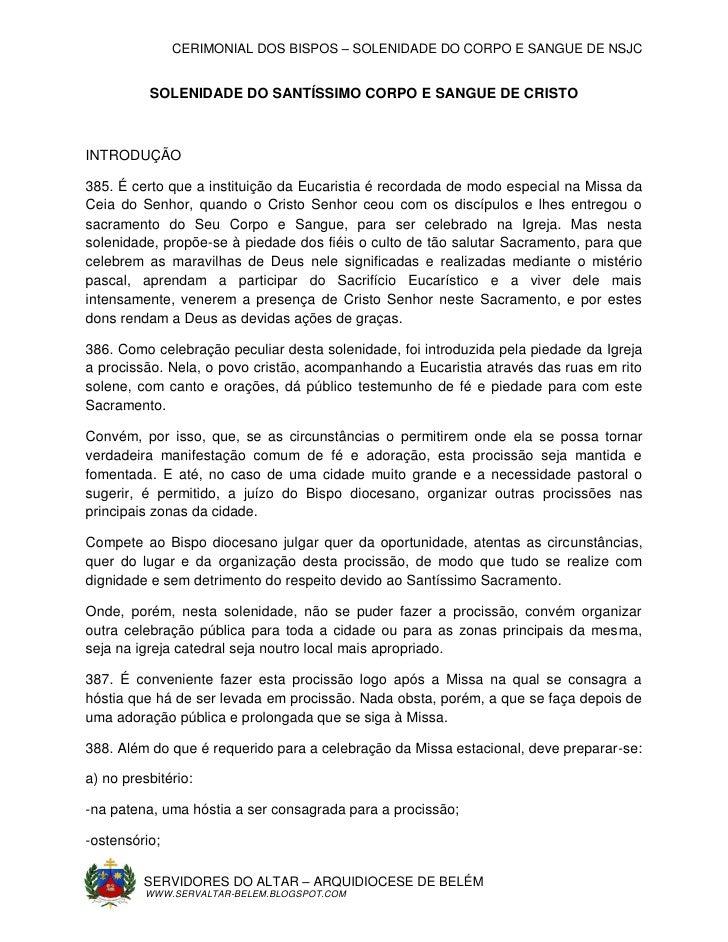 CERIMONIAL DOS BISPOS – SOLENIDADE DO CORPO E SANGUE DE NSJC          SOLENIDADE DO SANTÍSSIMO CORPO E SANGUE DE CRISTOINT...