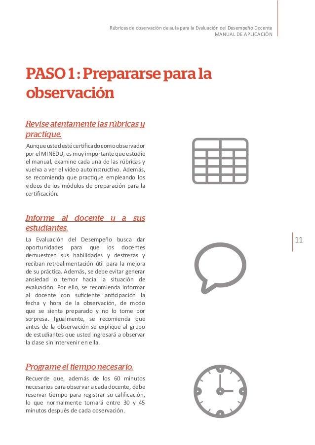 11 Rúbricas de observación de aula para la Evaluación del Desempeño Docente MANUAL DE APLICACIÓN PASO 1 : Prepararse para ...