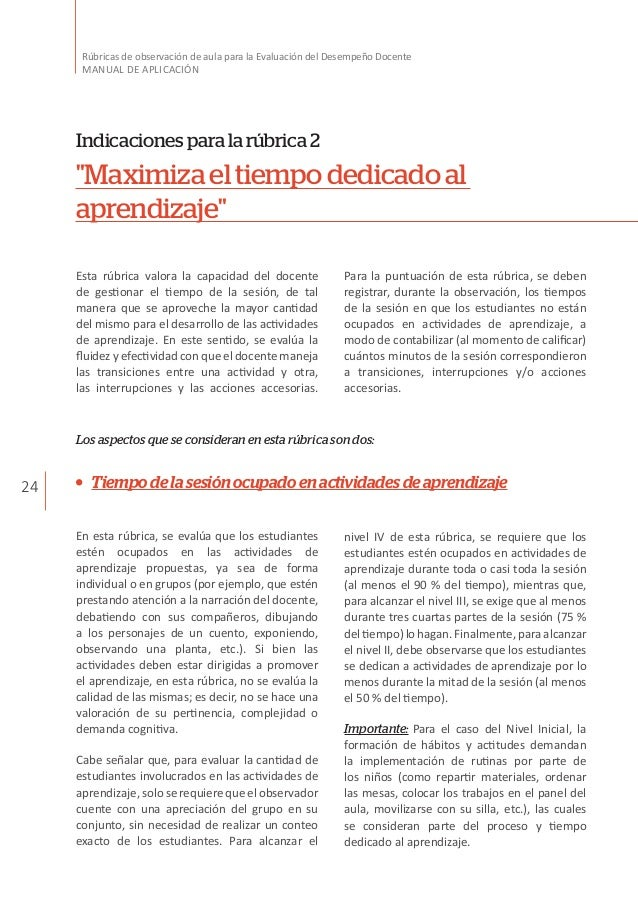 24 Rúbricas de observación de aula para la Evaluación del Desempeño Docente MANUAL DE APLICACIÓN Indicacionesparalarúbrica...