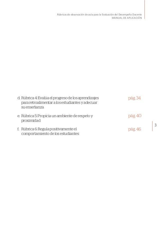 3 Rúbricas de observación de aula para la Evaluación del Desempeño Docente MANUAL DE APLICACIÓN d.Rúbrica4:Evalúaelprogre...