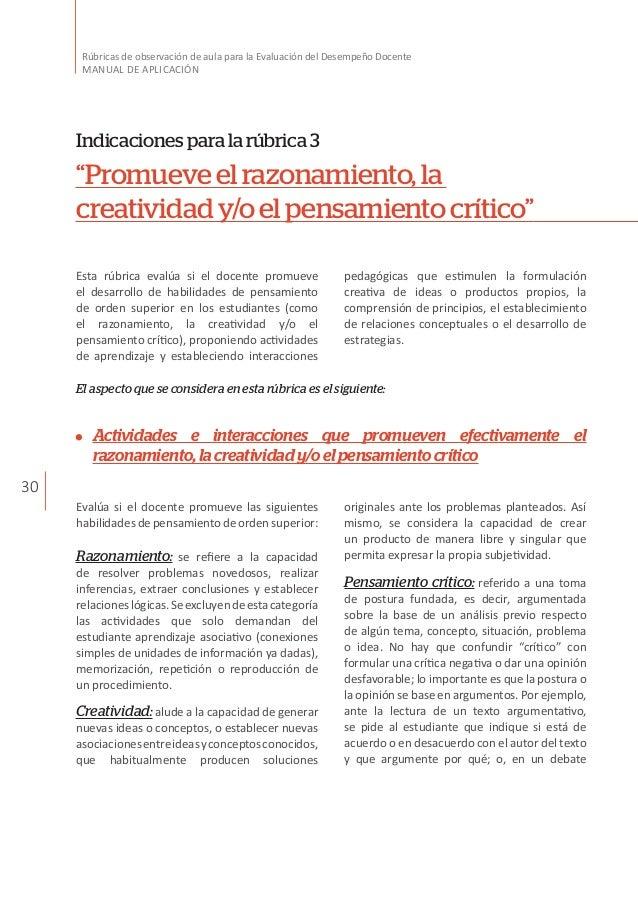 30 Rúbricas de observación de aula para la Evaluación del Desempeño Docente MANUAL DE APLICACIÓN Esta rúbrica evalúa si el...