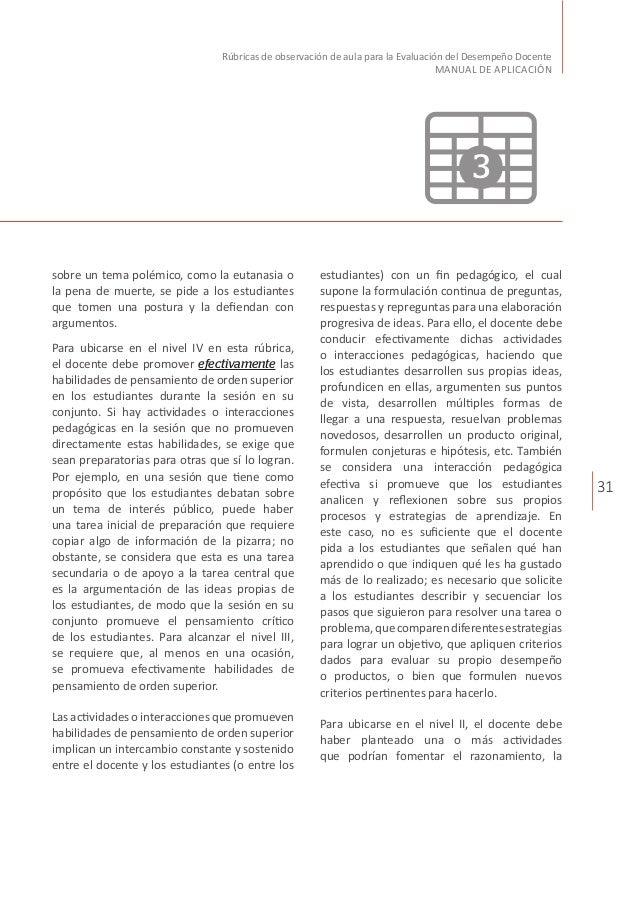 31 Rúbricas de observación de aula para la Evaluación del Desempeño Docente MANUAL DE APLICACIÓN sobre un tema polémico, c...