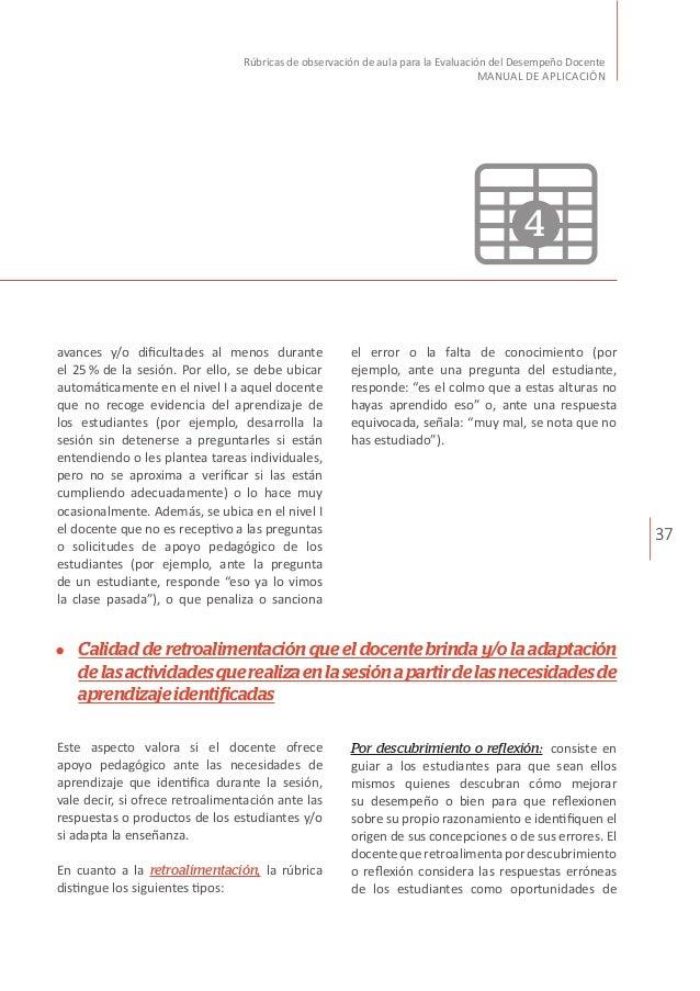 37 Rúbricas de observación de aula para la Evaluación del Desempeño Docente MANUAL DE APLICACIÓN avances y/o dificultades ...
