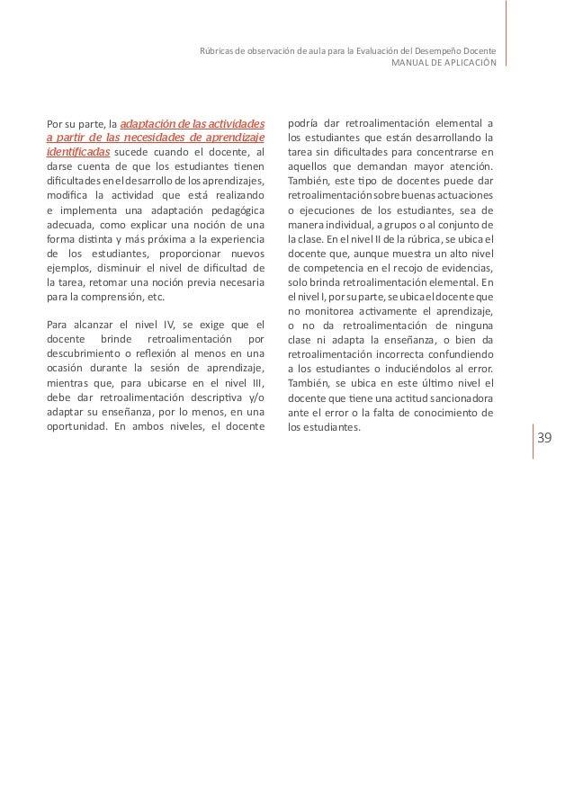 39 Rúbricas de observación de aula para la Evaluación del Desempeño Docente MANUAL DE APLICACIÓN podría dar retroalimentac...