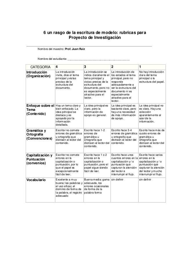 6 un rasgo de la escritura de modelo: rubricas para Proyecto de Investigación Nombre del maestro: Prof. Juan Ruiz Nombre d...
