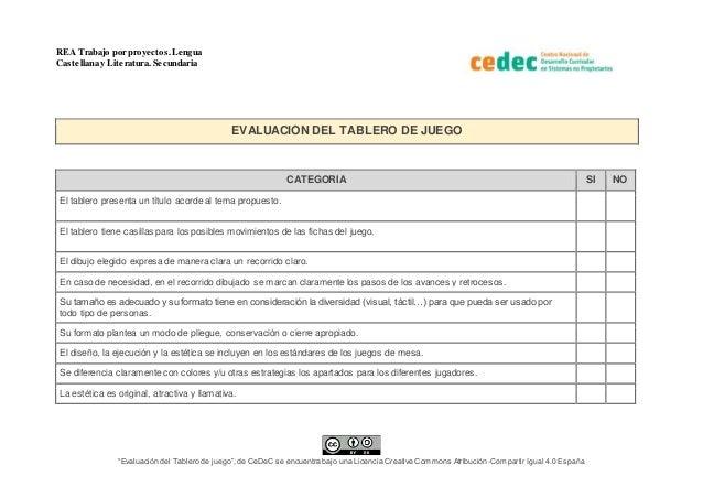 """REA Trabajo por proyectos.Lengua Castellana y Literatura. Secundaria """"Evaluación del Tablero de juego"""", de CeDeC se encuen..."""