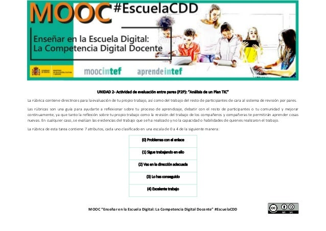 """MOOC """"Enseñar en la Escuela Digital: La Competencia Digital Docente"""" #EscuelaCDD UNIDAD 2- Actividad de evaluación entre p..."""