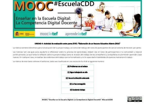"""MOOC """"Enseñar en la Escuela Digital: La Competencia Digital Docente"""" #EscuelaCDD UNIDAD 4- Actividad de evaluación entre p..."""