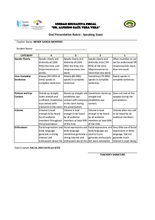 rubric evaluation for speaking exam